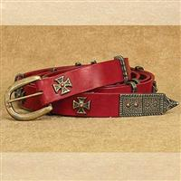 Medieval Thin Long Belt Red