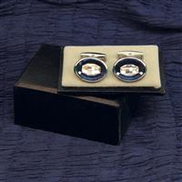 Cuff Links Blue & Clear Crystal