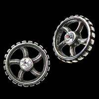 Diamond Crank Wheel Stud Earrings