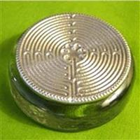 Green Glass Labyrinth Paperweight