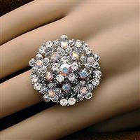 Starburst Clear Stone Adjustable Ring