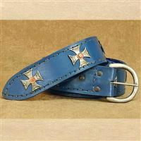 Medieval Wide Long Belt Blue