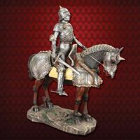 Gothic Armored Knight on Horseback Statue