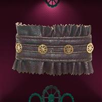Faux Leather and Gears Bracelet