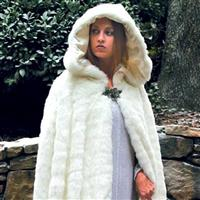 Snow Queen Faux Fur Hooded Cape