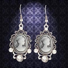 Victorian Silver Cameo Earrings