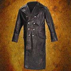 German WWII Leather Greatcoat - Black