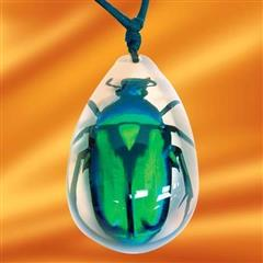 Insect Art Green Rose Chafer Beetle Necklace
