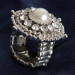 Jeweled Pearl Adjustable Ring