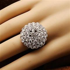 Jeweled Clear Stone Adjustable Ring