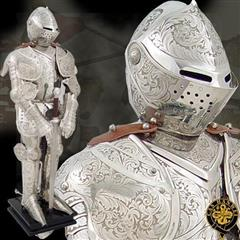 Knight in Embossed Armour Statue