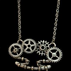 Clockwork Mechanical Brass Knuckle Necklace
