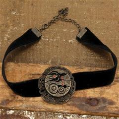 Black Velvet Steampunk Gear Choker
