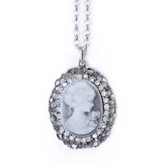 Victorian Grey Oval Cameo Necklace