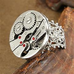 Watch Gears Silver Steampunk Ring