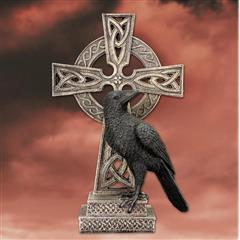 Celtic Cross with Raven Statue