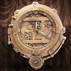 Steampunk Wall Clock with Thermometer