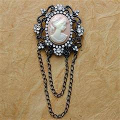 Victorian Pink Cameo Brooch