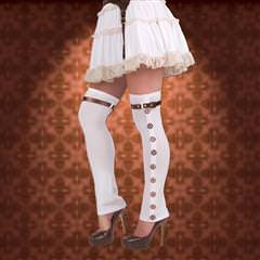 Ladies White Buckle Spats