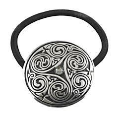 Pewter Triple Swirl Jeweled Celtic Hair Band