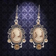 Victorian Brown Cameo Earrings