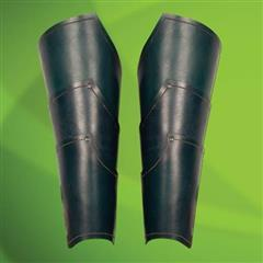 Elven Green Leather Greaves