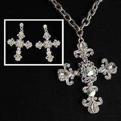 Fleur de Lis Crystal Cross Necklace and Earrings