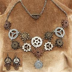 Multi Gear Steampunk Necklace & Earrings