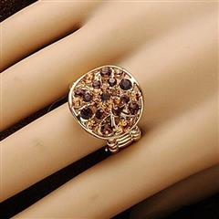 Sunburst Amber Adjustable Ring