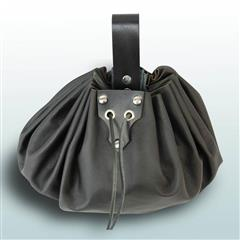 Round Large Leather Pouch