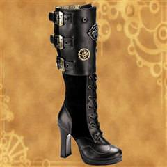 Crypto Buckles and Gears Steampunk Platform Boots